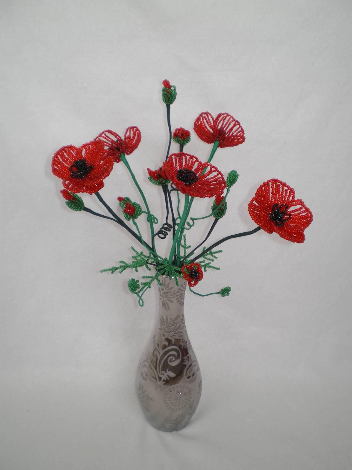 Мак из бисера Полевые цветы из бисера 34